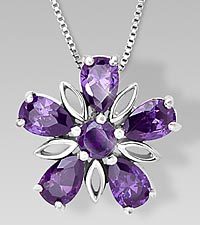 Genuine Amethyst Floral Sterling Silver Pendant