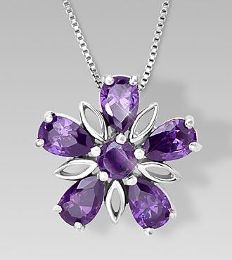 Genuine Amethyst Floral Sterling Silver Pendant
