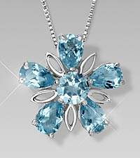 Genuine Blue Topaz Floral Sterling Silver Pendant