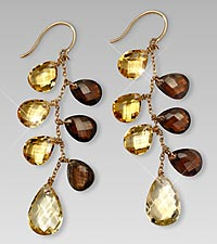 14kt Gold over Sterling Silver Smokey Citrine Earrings