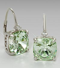 10mm Cushion Cut Green Amethyst & Diamond Accent Earrings