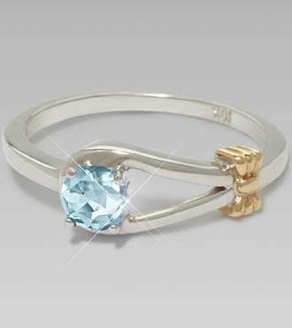 March Birthstone Created Aquamarine Sterling Silver Ring