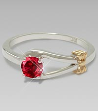 July Birthstone Created Ruby Sterling Silver Ring