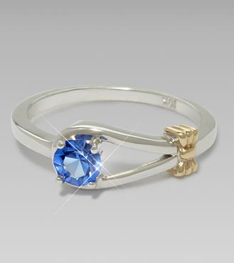 September Birthstone Created Blue Sapphire Sterling Silver Ring