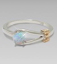 October Birthstone Created Opal Sterling Silver Ring