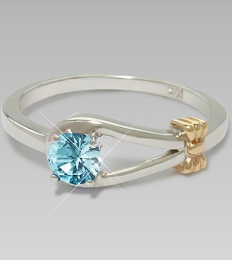 December Birthstone Genuine Blue Topaz Sterling Silver Ring