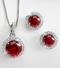 Ruby Pendant & Earring Set