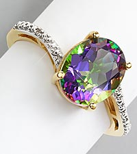 Oval Mystic Topaz Gold over Sterling Silver Ring - Size 7