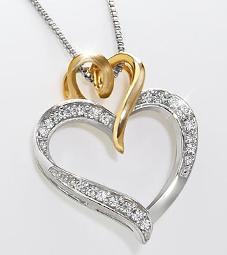 0.12 cttw Diamond Heart Sterling Silver Pendant with Gold Accent