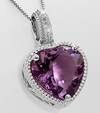 Amethyst Heart with Created White Sapphires Sterling Silver Pendant