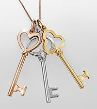 Gold over Sterling Silver Tri-Color Key Pendant with Diamond Accents