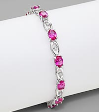 Created Pink Sapphire & 0.10 cttw Diamond Sterling Silver Bracelet