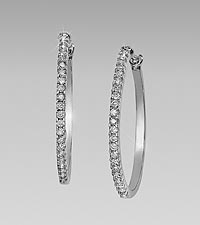 0.50 cttw Diamond 10kt Gold Hoop Earrings