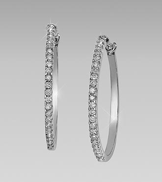 0.50 cttw Diamond 10kt Gold Hoop Earrings
