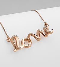 'Love' Rose Gold over Sterling Silver Necklace