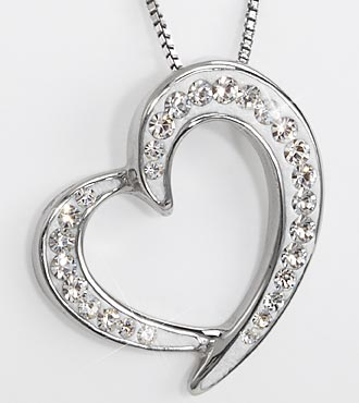 White Swarovski Crystal elements Heart-Shaped Sterling Silver Pendant