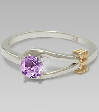 February Birthstone Genuine Amethyst Sterling Silver Ring - Size 9