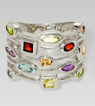 Multi-Gemstone Sterling Silver Ring - Size 8