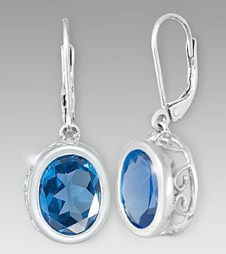Created London Blue Topaz Sterling Silver Earrings
