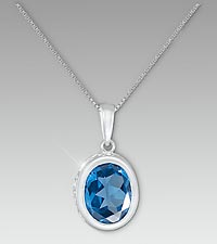 Created London Blue Topaz Sterling Silver Pendant