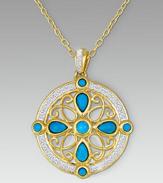 0.20 cttw Diamond & Turquoise Gold Over Sterling Silver Medallion Pendant