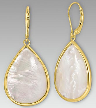 Mother of Pearl Gold Over Sterling Silver Dangling Earrings