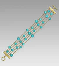 Round Beaded Turquoise Gold Over Sterling Silver Bracelet