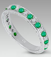 Genuine Emerald & Diamond Band - Size 7