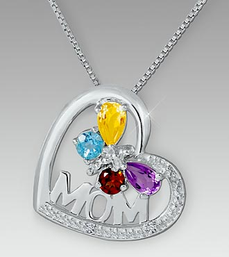Multi-Gemstone Mom Heart Sterllng Silver Pendant
