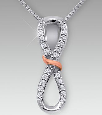 0.12 cttw Diamond Sterling Silver Eternity Pendant
