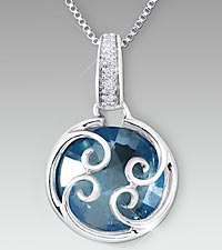 10mm Round Swiss Blue Topaz with Created White Sapphire Sterling Silver Pendant