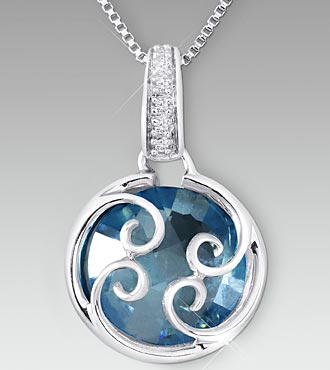 Swiss Blue Topaz with Created White Sapphire Sterling Silver Pendant
