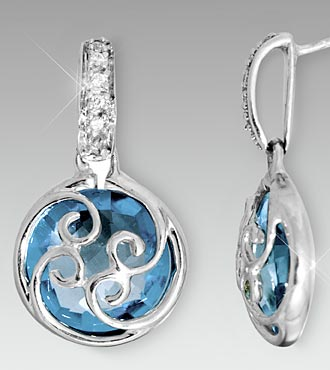 10mm Round Swiss Blue Topaz with Created White Sapphire Sterling Silver Earrings