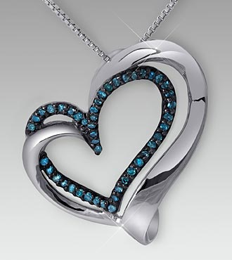 0.20cttw Blue Diamond Sterling Silver Heart Shaped Pendant