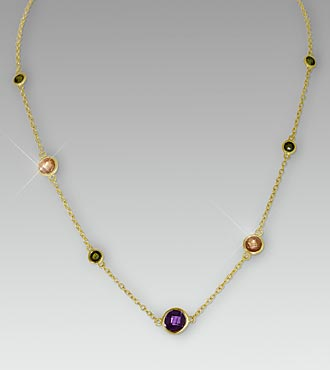 Multi Gemstone Gold over Sterling Silver Necklace