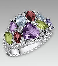 Multi Gemstone Sterling Silver Cocktail Ring - Size 7