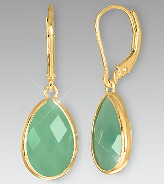 Pear-Shaped Green Aventurine Gold over Sterling Silver Earrings