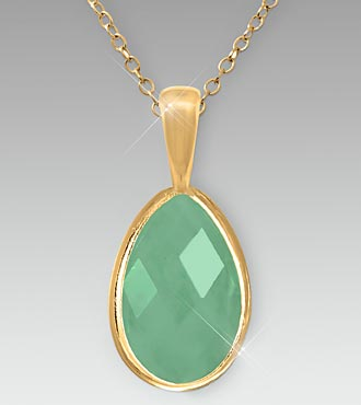 Pear-Shaped Green Aventurine Gold over Sterling Silver Pendant