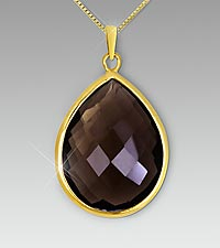 Smoky Quartz Pear-Shaped Drop Pendant