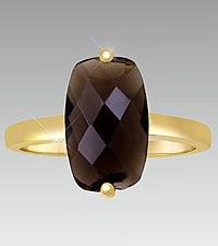 Smoky Quartz Rectangle Ring - Size 7