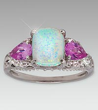 Created Opal & Created Pink and White Sapphire Sterling Silver Ring