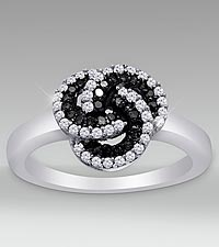 Sterling Silver 0.33cttw Black & White Diamond Ring - Size 7