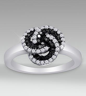 Sterling Silver 0.33cttw Black & White Diamond Ring - Size 7