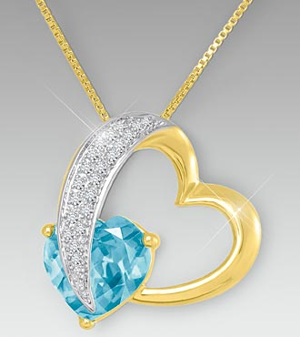 10mm Aquamarine & Created White Sapphire Gold over Sterling Silver Heart Pendant