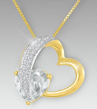 10mm Created White Sapphire Gold over Sterling Silver Heart Pendant