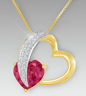 10mm Rhodolite & Created White Sapphire Gold over Sterling Silver Heart Pendant