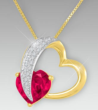 10mm Created Ruby & Created White Sapphire Gold over Sterling Silver Heart Pendant
