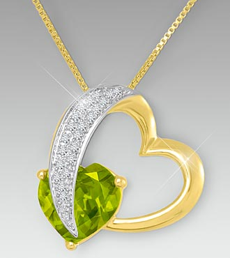 10mm Peridot & Created White Sapphire Gold over Sterling Silver Heart Pendant