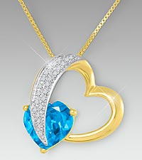 10mm Swiss Blue Topaz & Created White Sapphire Gold over Sterling Silver Heart Pendant