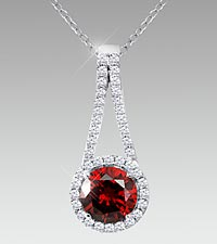 7mm Round-Cut Garnet & Created White Sapphire Sterling Silver Pendant